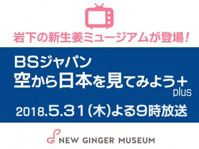 画像:2018年5月31日(木)放送、BSジャパン『空から日本を見てみよう+(plus)』に岩下の新生姜ミュージアムが登場。