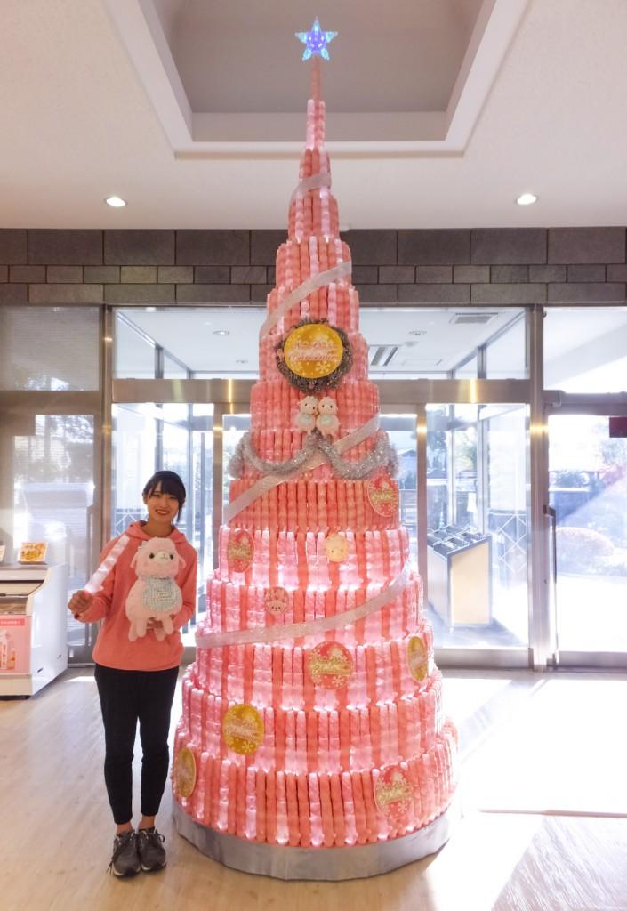 岩下の新生姜ペンライトのクリスマスツリー(岩下の新生姜ペンライト660本使用)