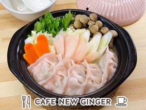 画像:ピンクのぽかぽか岩下の新生姜餃子鍋