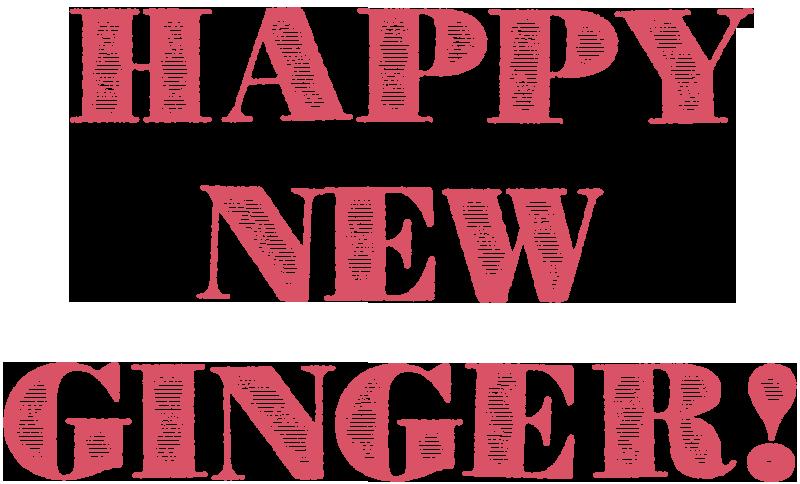 画像:HAPPY NEW GINGER!(英字/横書き/三段組み)