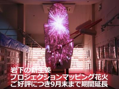 画像:「岩下の新生姜プロジェクションマッピング花火」ご好評につき9月末まで期間延長