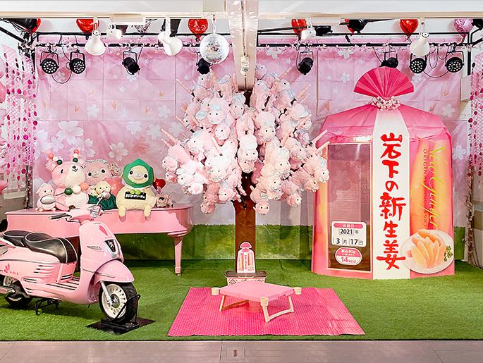 画像:フォトスポット「岩下の新生姜アルパカ桜」